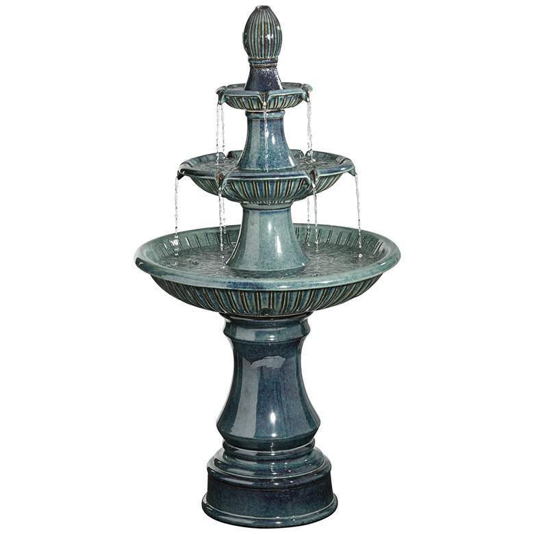 "Three Tier 46"" High Classic Blue Ceramic LED Fountain"