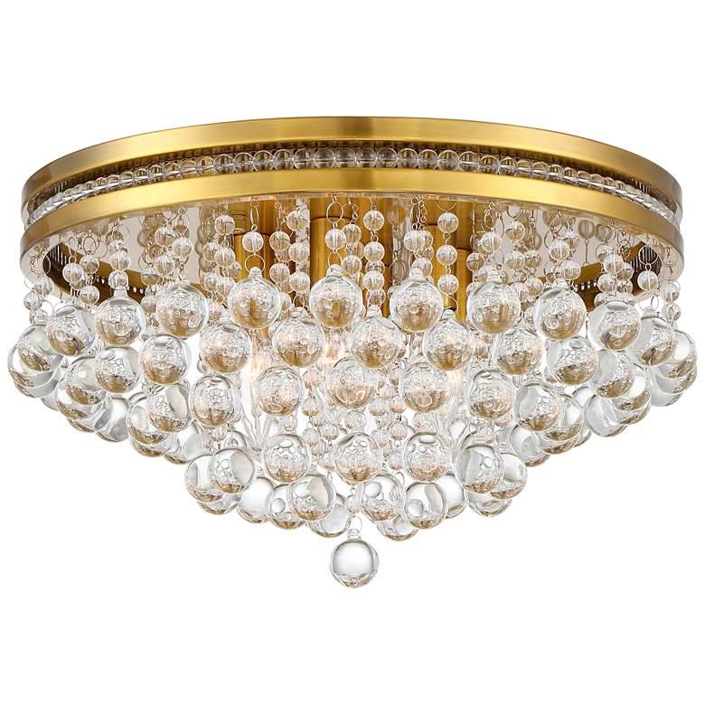 "Regina Brass 15 1/4"" Wide Crystal Ceiling Light"