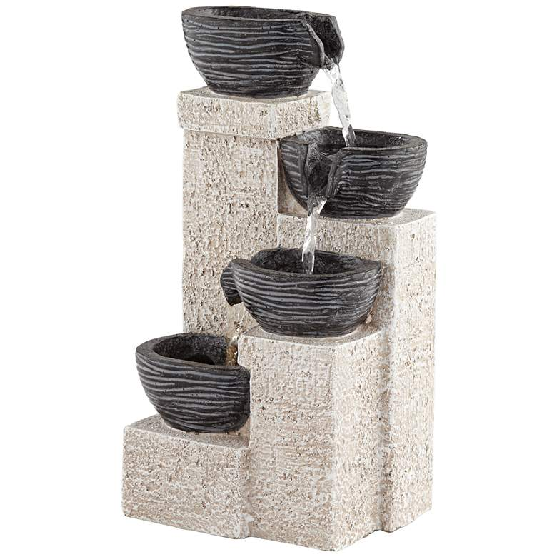 """Four Cup 11"""" High Gray LED Cascading Water Fountain"""