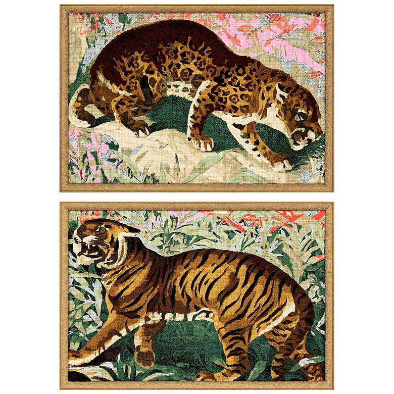 """Concrete Jungle Cats 25""""W 2-Piece Framed Giclee Wall"""