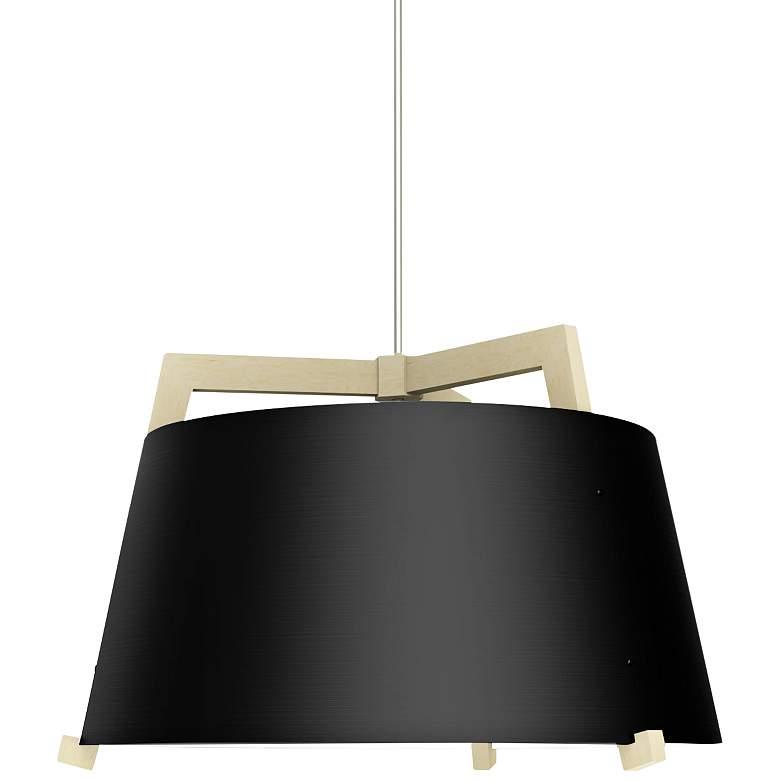 "Ignis 24""W White Washed Oak w/ Matte Black LED Pendant Light"