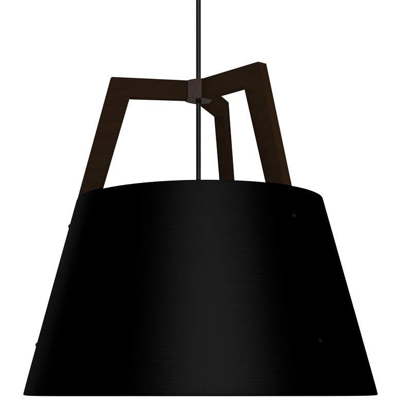 "Imber 24""W Dark Walnut with Matte Black LED Pendant Light"