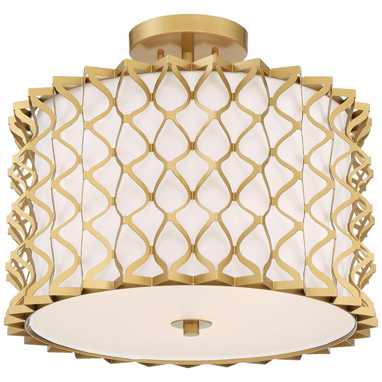 "Possini Euro Brant 18"" Wide Textured Gold Ceiling Light"