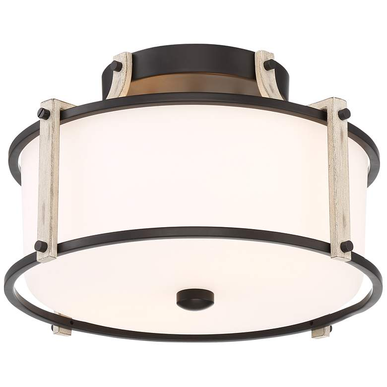 "Possini Euro Timmins 13"" Wide Black and Wood Ceiling Light"