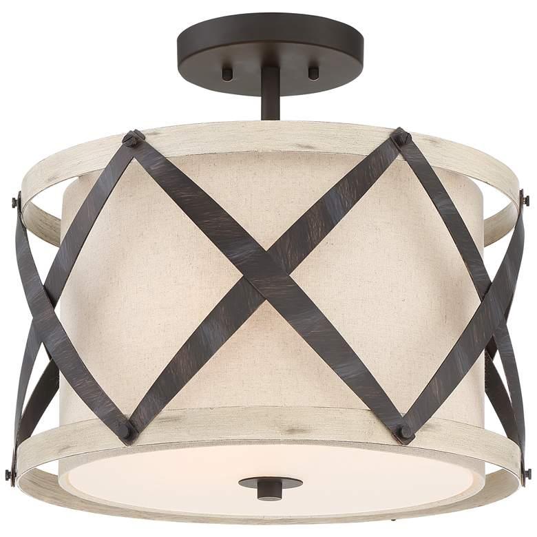 "Possini Euro Carignan 16 1/2""W Bronze and Wood Ceiling Light"