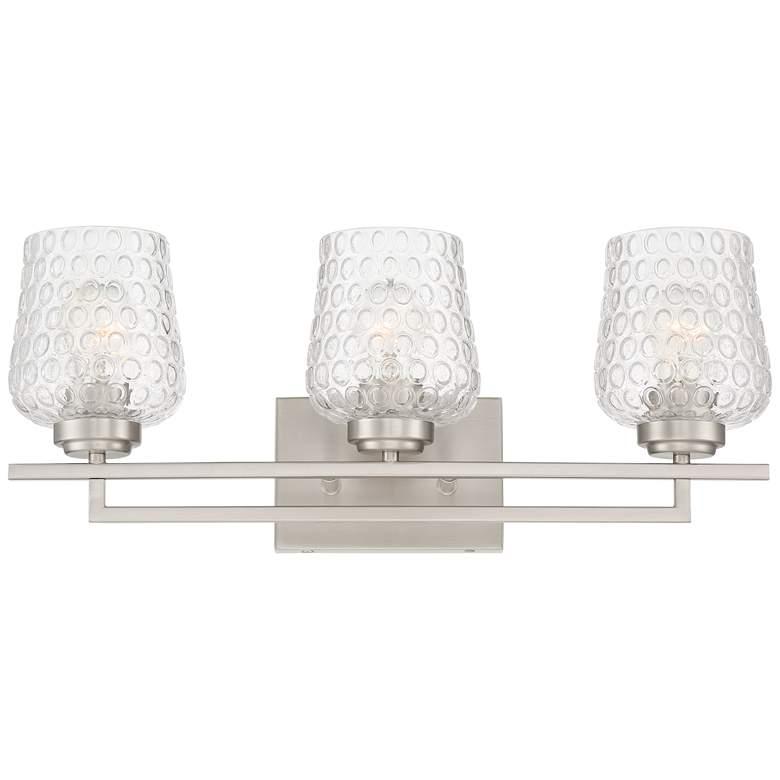 """Possini Euro Conni 22""""W Nickel and Glass 3-Light Bath Light"""