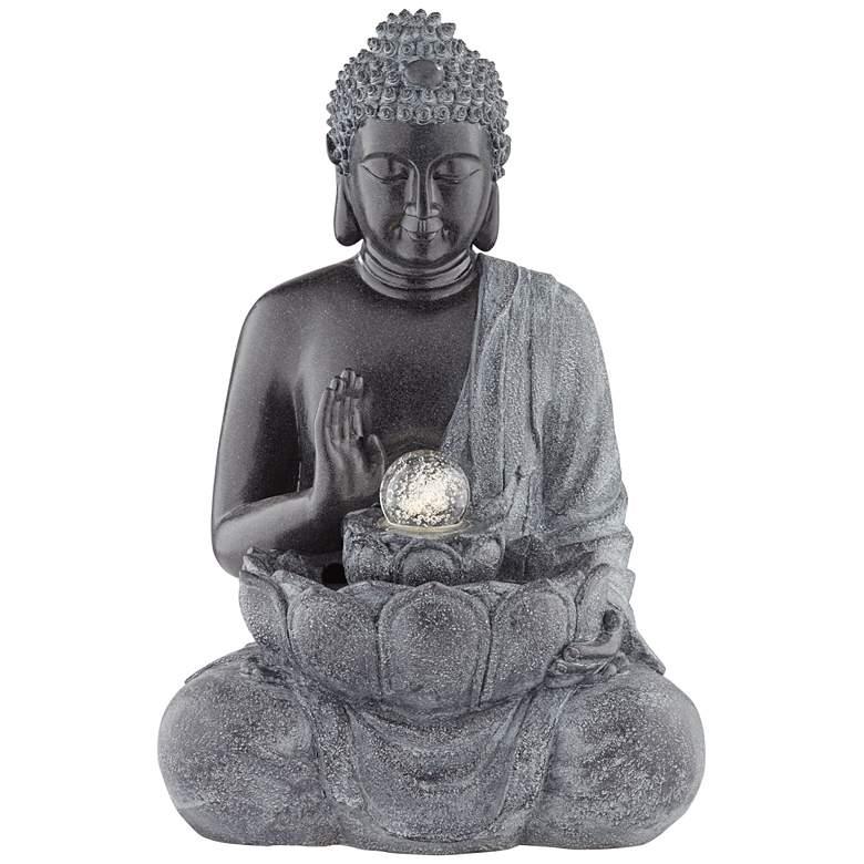 "Sitting Buddha 28"" High Bronze LED Water Fountain"