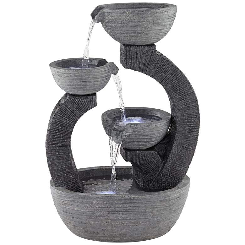 """Three Cup 31 1/2"""" High Gray LED Cascading Floor Fountain"""