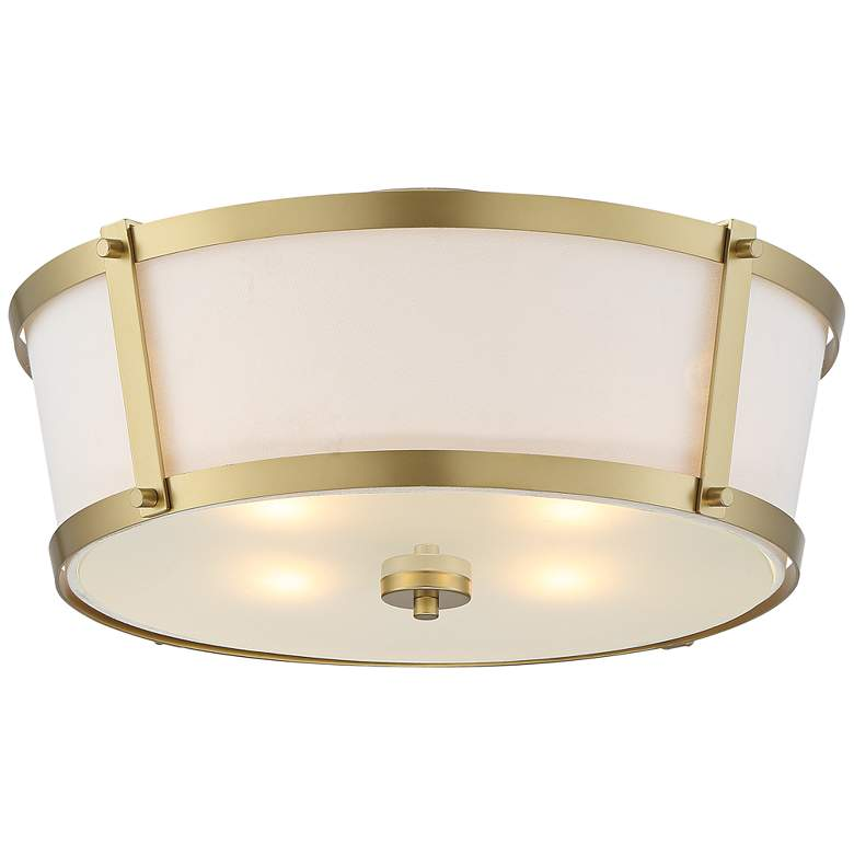 """Celi 18"""" Wide Tapered Fabric and Gold Luxe Ceiling Light"""