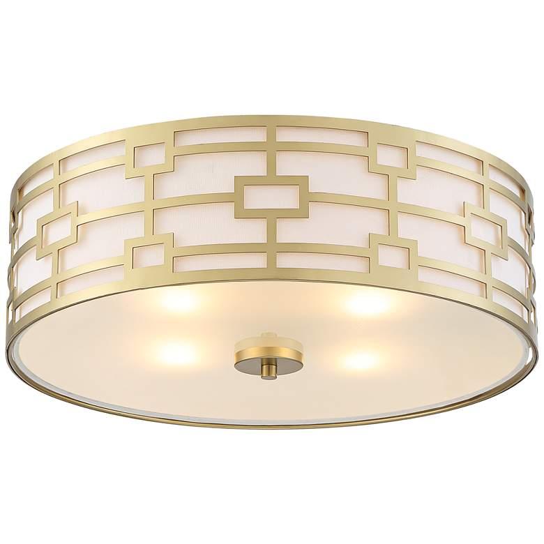 "Possini Euro Paulina 18""W Gold Pattern 4-Light Ceiling Light"