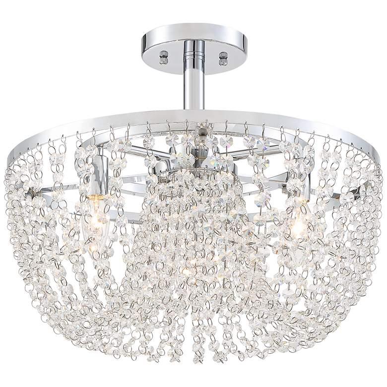 "Karol 17""W Chrome and Crystal Strand Ceiling Light"