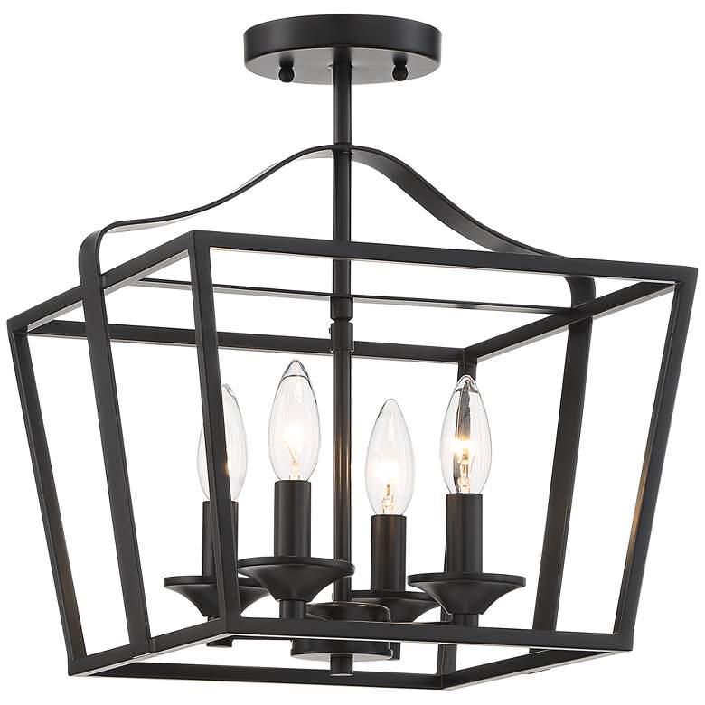 "Jeffery 13"" Wide Black 4-Light Foyer Pendant Light"