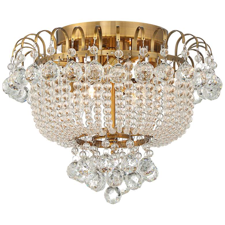 "Eleina 15"" Wide Golden Bronze and Crystal Ceiling Light"