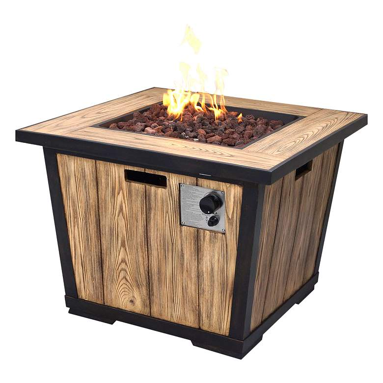 "Fraser Park 32"" Square Distressed Wood Gas Fire Pit Table"