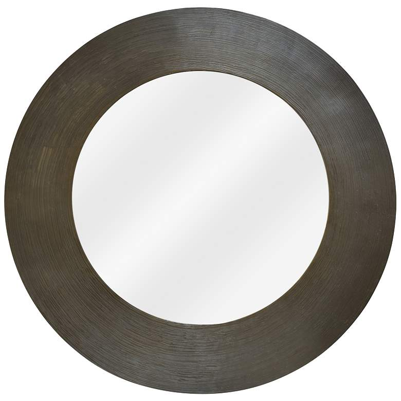 "Hutton II Textured Pewter 35"" Round Wall Mirror"