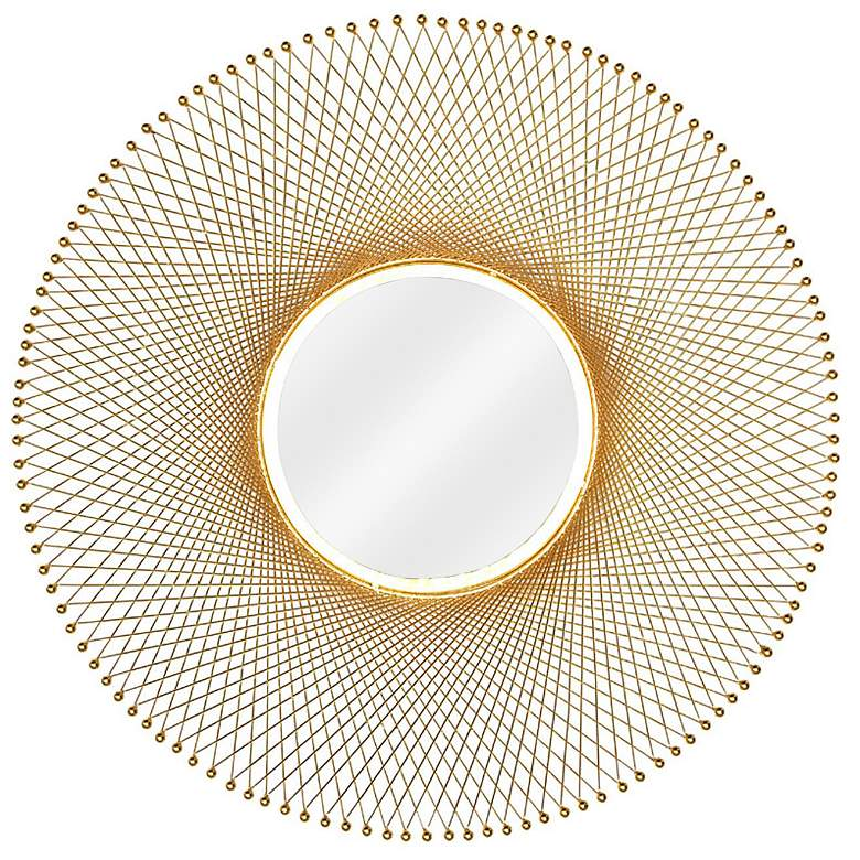 """Crestview Collection Campbell Gold 29 1/2"""" Round Wall"""