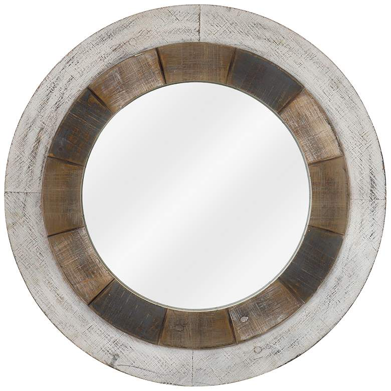 """Orbiting Natural and White-Washed 31 1/2"""" Round Wall"""