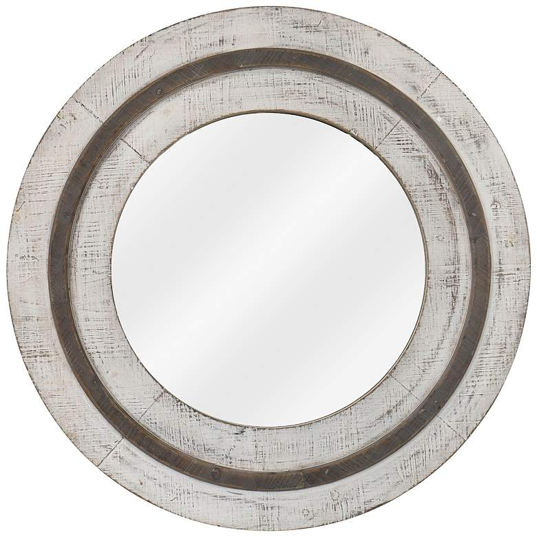 """Turning Reflection Natural White 31 1/2"""" Round Wall Mirror"""