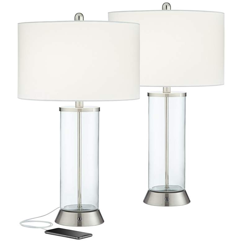 Watkin Clear Glass Column USB LED Table Lamps Set of 2