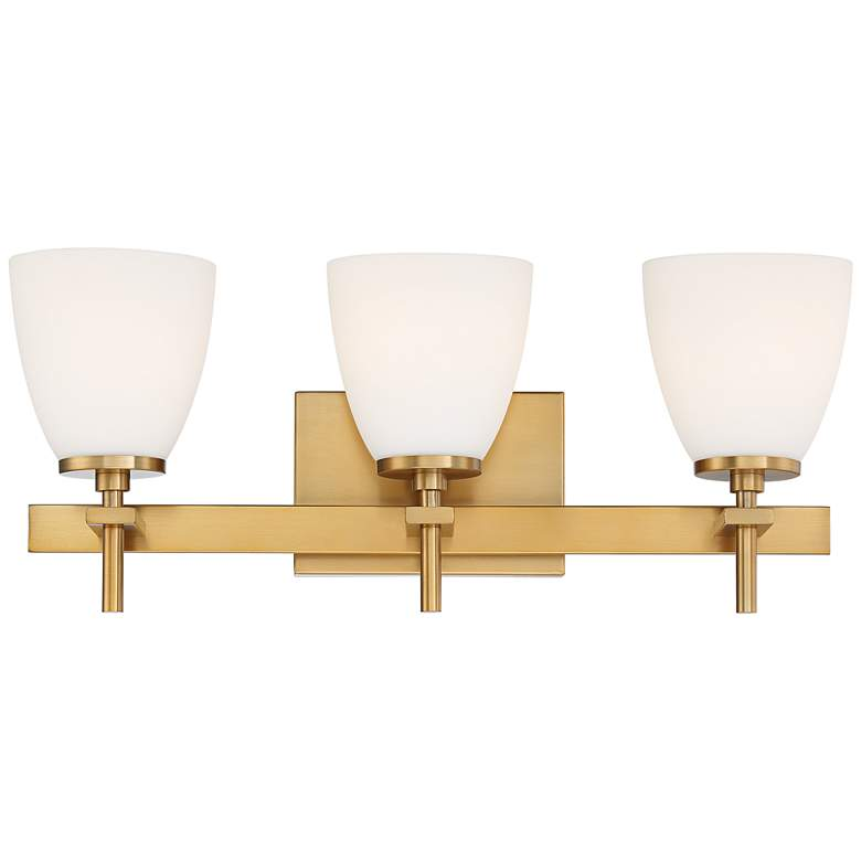 "Possini Euro Pell 20"" Wide Brass 3-Light Bath Light"