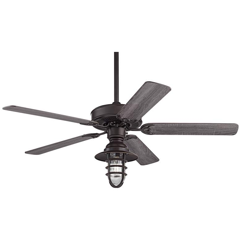 "52"" Casa Bay View Bronze Hooded Cage Damp LED Ceiling Fan"