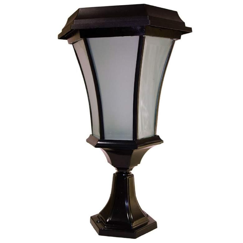 "Maren 15""H Black Flicker Flame Solar LED Outdoor"