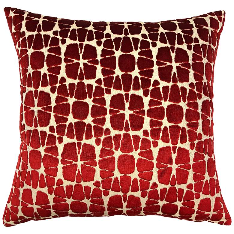 "Nathan Red 20"" Square Decorative Pillow"