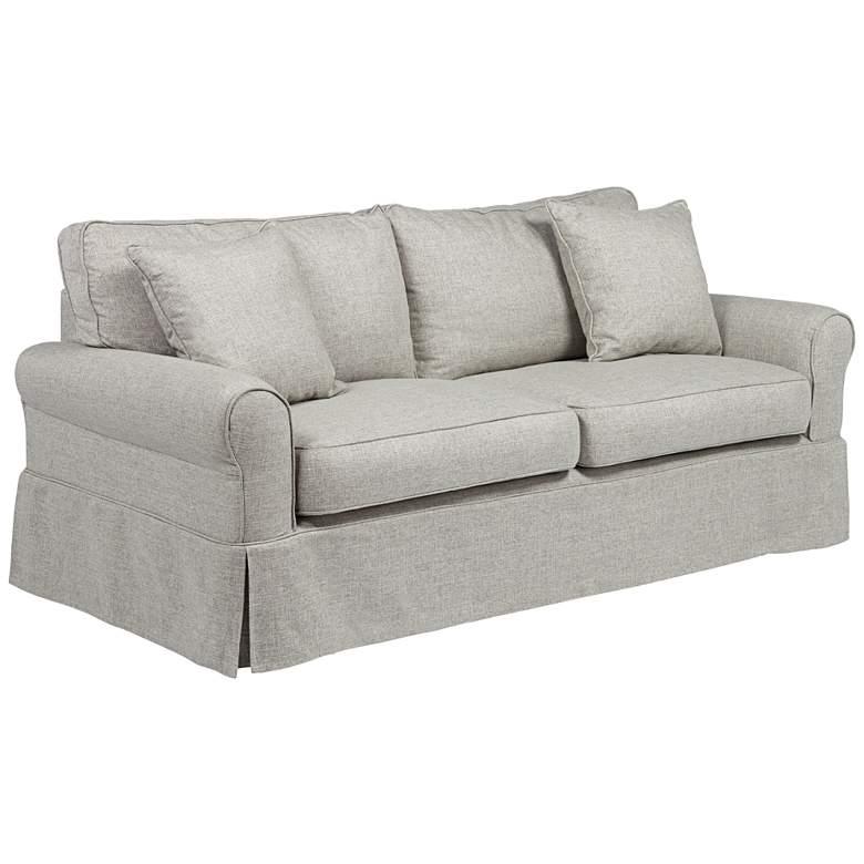 "Carmen Classic 81 1/4"" Wide Cream and Gray Slipcover Sofa"