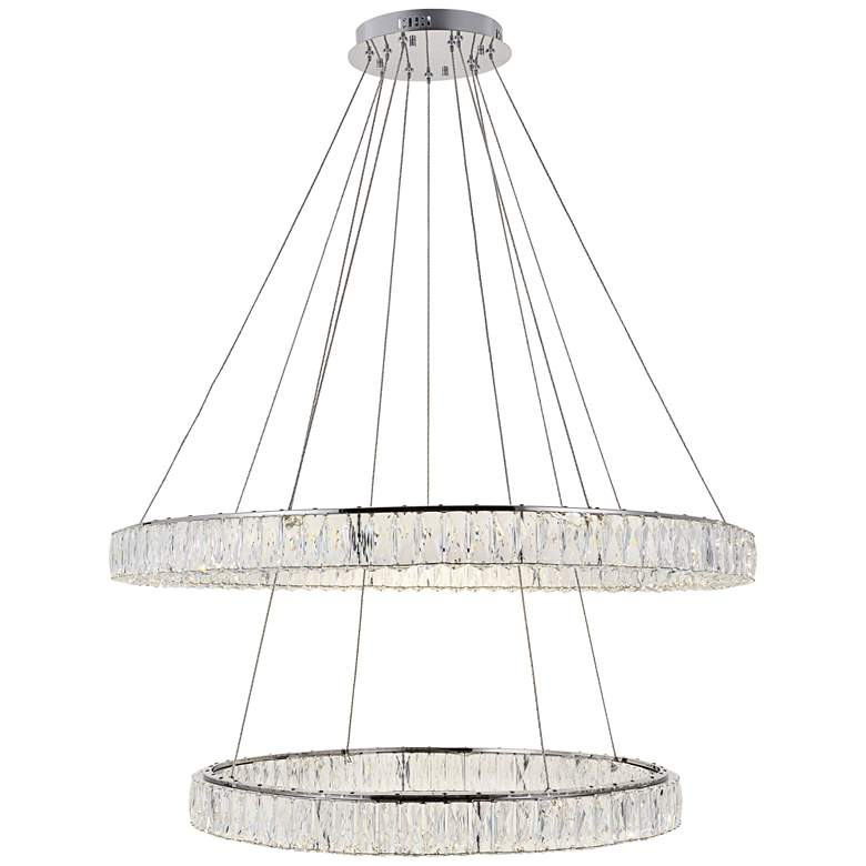 """Monroe 42"""" Wide Chrome and Crystal 2-Tier LED Chandelier"""