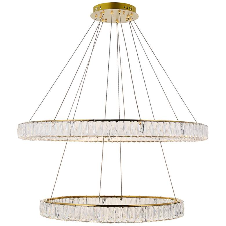 """Monroe 42"""" Wide Gold and Crystal 2-Tier LED Chandelier"""
