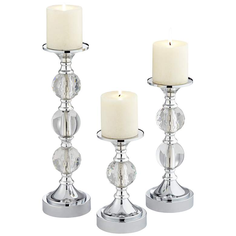 Caroline Chrome and Crystal Pillar Candle Holders Set