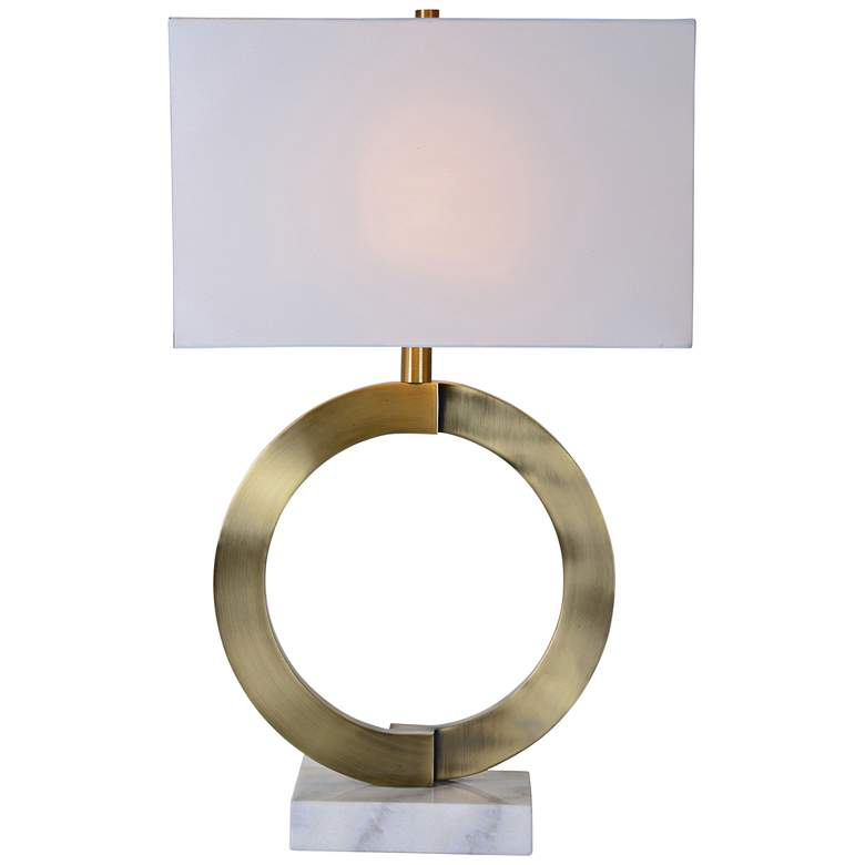 Skylar Antique Bronze and White Marble Table Lamp
