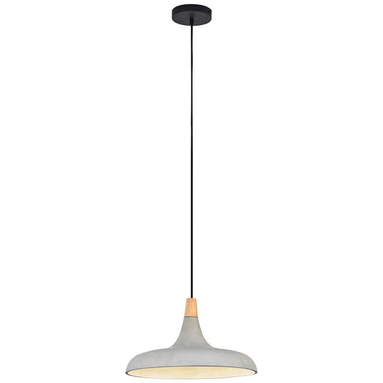 "Viola-May 16""W Natural Gray and Textured Black Pendant Light"