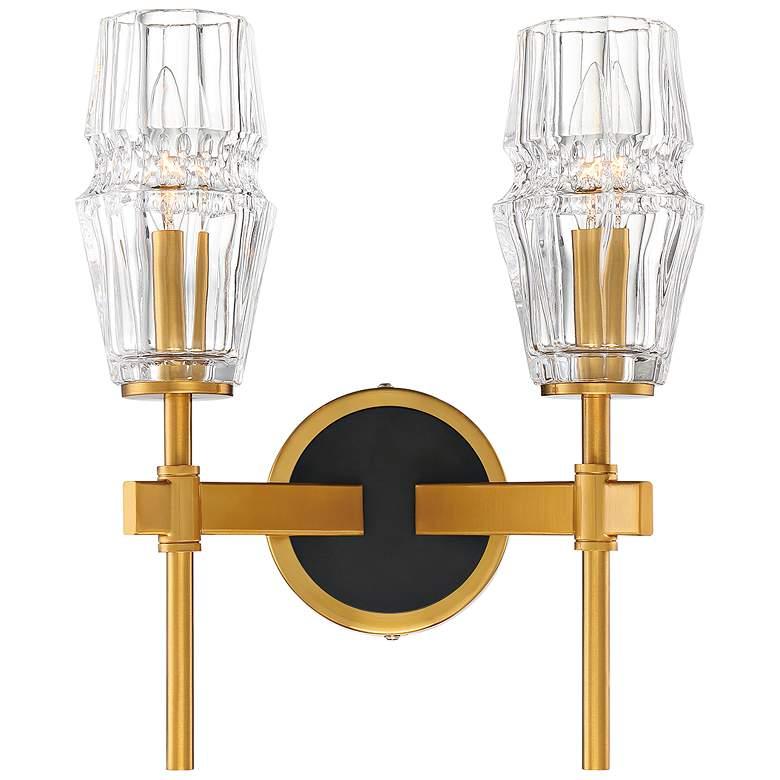 "Gladstone 13 1/2"" High Brass and Black 2-Light"
