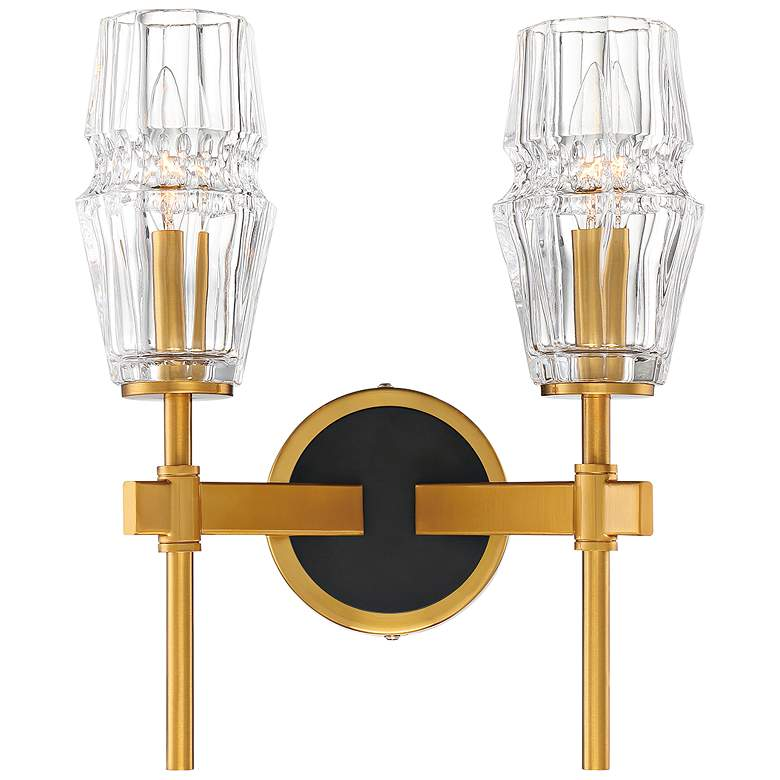 """Gladstone 13 1/2"""" High Brass and Black 2-Light Wall Sconce"""
