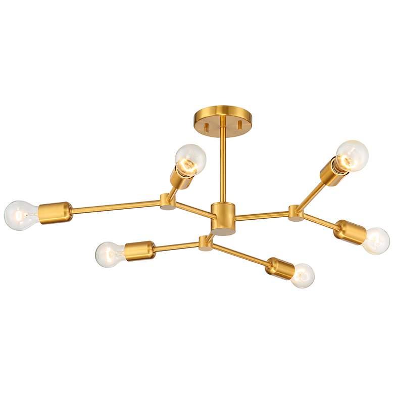 """Marco 25"""" Wide Burnished Brass 6-Light Sputnik Ceiling Light"""