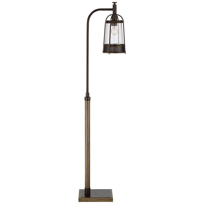 Hugh Bronze and Faux Wood Downbridge Floor Lamp