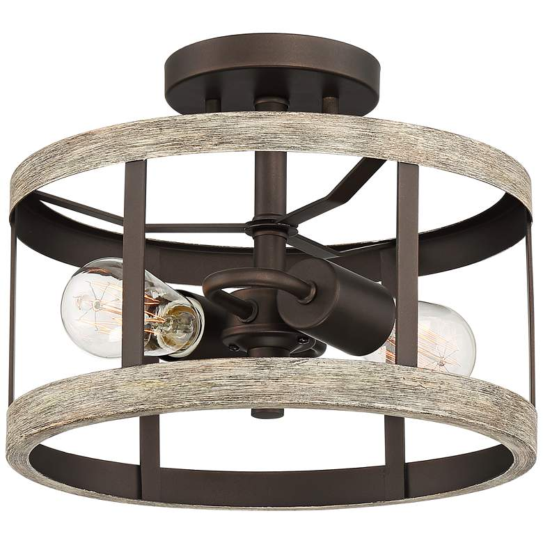 """Blantyre 12""""W Bronze and Wood 2-Light Ceiling Light"""