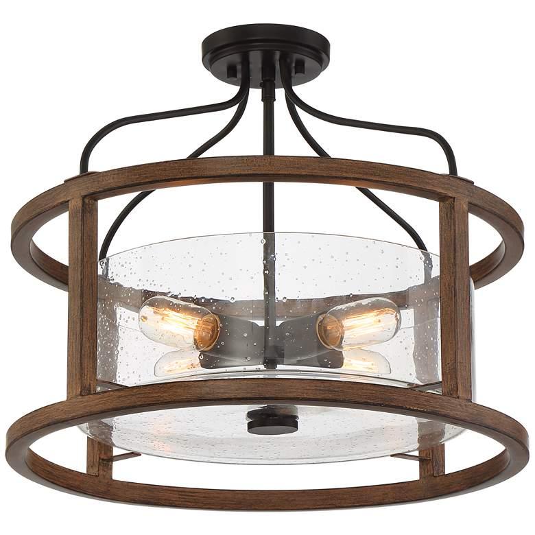 """Possini Euro 20 1/4"""" Wide Open Orb Bronze Wood Ceiling Light"""
