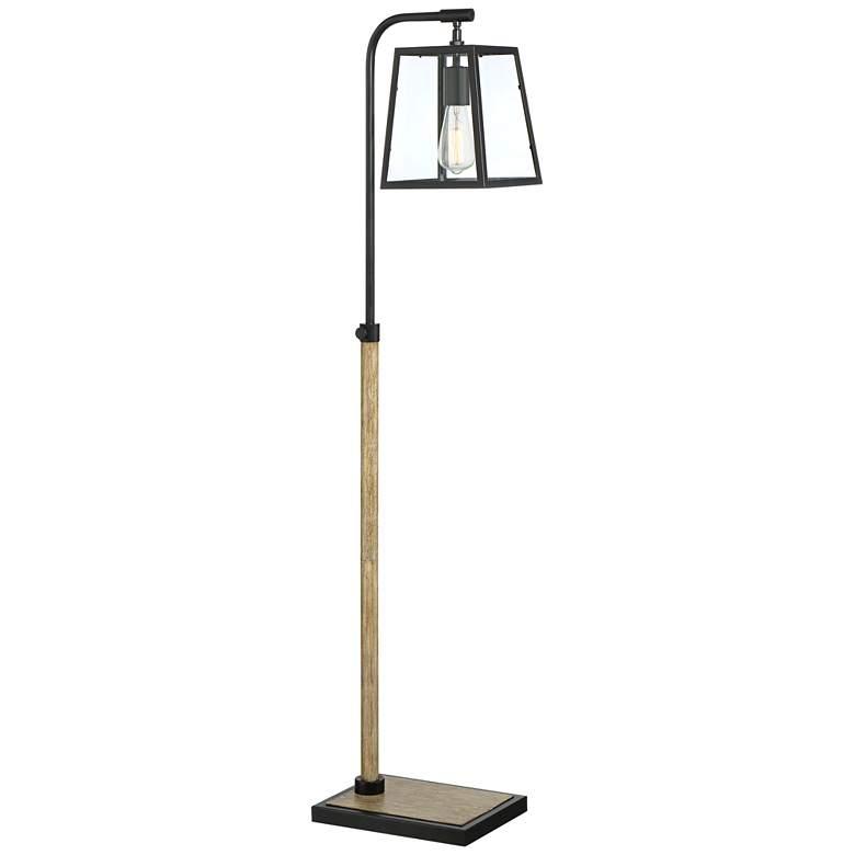Wynne Black and Faux Wood Grain Floor Lamp