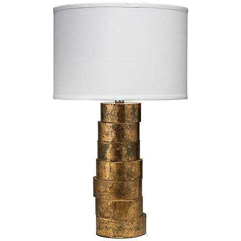 Jamie Young Gold Stacked Wood Table Lamp