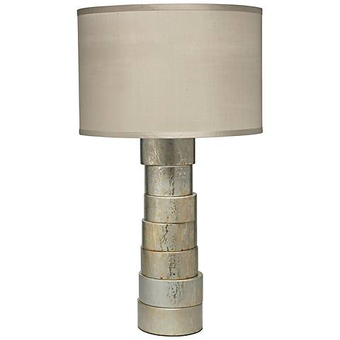 Jamie Young Silver Stacked Wood Table Lamp