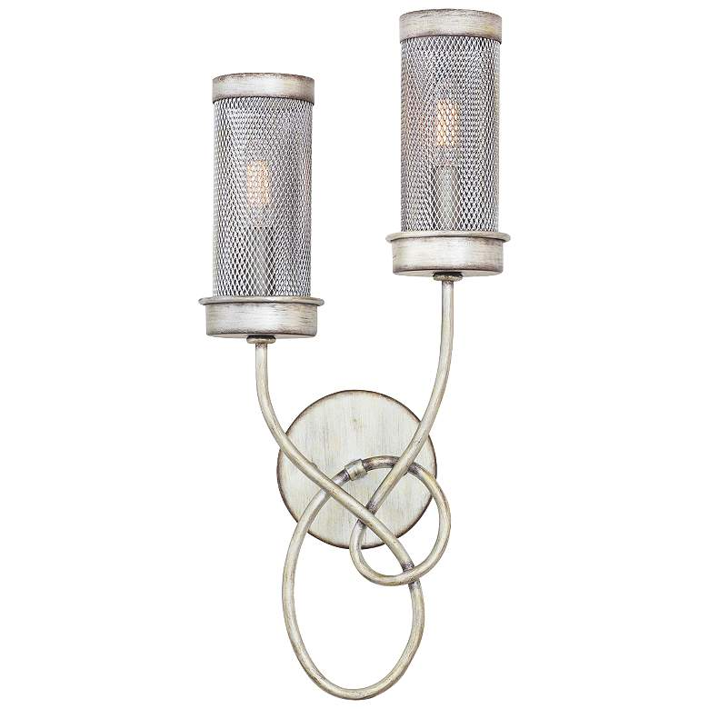 """Concord 20 1/4"""" High Aged Silver Mesh Wall Sconce"""