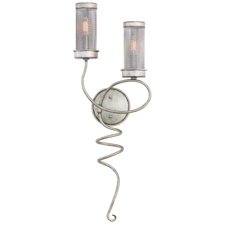 """Concord 30 1/2"""" High Aged Silver Mesh Wall Sconce"""