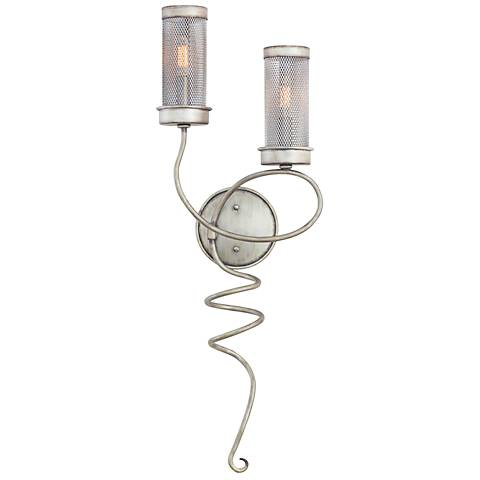 "Concord 30 1/2"" High Aged Silver Mesh Wall Sconce"