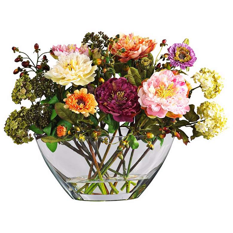 """Mixed Peony 18""""W Faux Floral Bouquet in a Clear Glass Vase"""