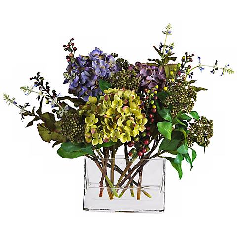 """12""""H Mixed Hydrangea Faux Floral Bouquet in a Rectangle Vase"""