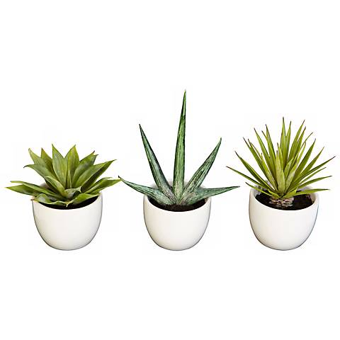 Southwest Mixed Succulent Faux Plants in Pots Set of 3