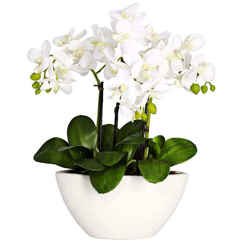 """White Phalaenopsis Orchid 16"""" High Faux Flowers"""
