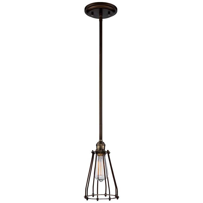 "Avenel Industrial Edison 5 1/2"" Wide Bronze Mini Pendant"